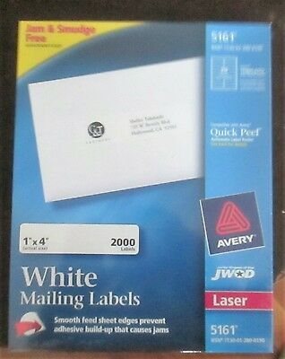 """Avery 1"""" X 4"""" white mailing labels 2000 labels per box 5161 for Laser Printer"""