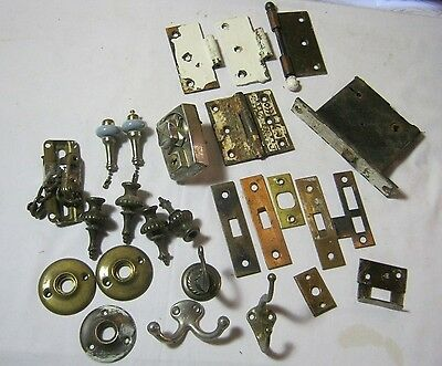 Antique Door Hardware Misc. Mixed Lot Clothes Hooks Hinges & More!    T*