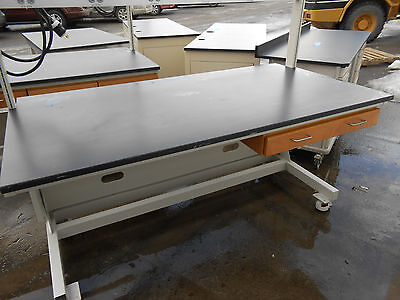 "Lab Work Bench/table 72"" X 37"" X 78.5"", Power Bar & Roll Set Leveling Castors"