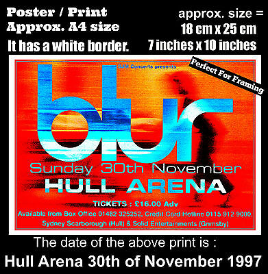 Blur live concert at Hull Arena 30th of November 1997 A4 size poster print