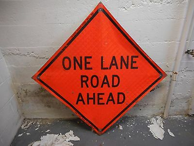 """One lane Road Ahead 36"""" X 36"""" Reflective Roll Up Sign With Ribs."""