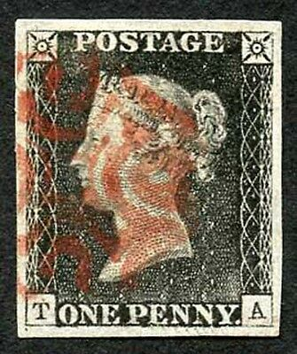 Penny Black (TA) Plate 1a Very Fine Four Margins