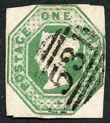 SG56 1/- Deep Green Embossed (the right silk thread is slightly split at top)