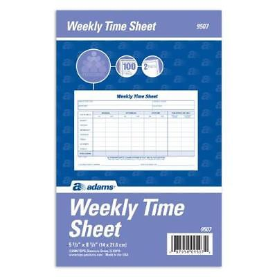 Adams Weekly Time Sheet, 1-Part, 5.5 x 8.5 Inches, Blue/White, 100 Sheets Per