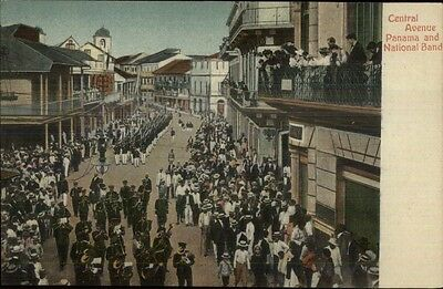 Panama Central Ave National Band c1910 Postcard