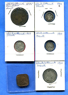 1875-1927 Straits Settlements - Lot of 6 Different Coins