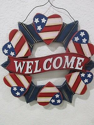 Patriotic 4th of July Hanging Wall Door Sign Welcom Decor Decoration