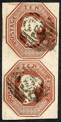 SG57 10d Embossed Vertical Pair (bottom stamp has a bend)
