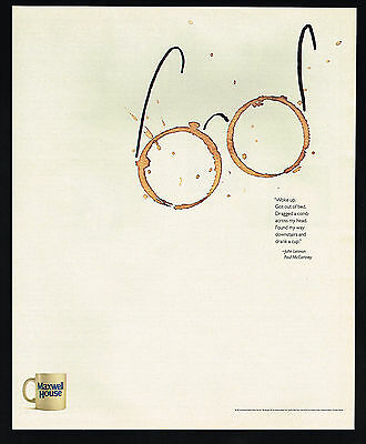 1991 Maxwell House Coffee John Lennon Glasses Got Out Of Bed Vintage Print Ad