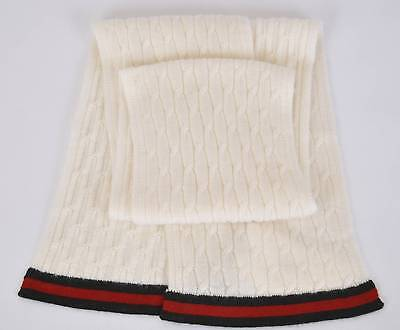 New Gucci Children's 269536 100% Cashmere Knit Ivory Red Black Scarf Muffler