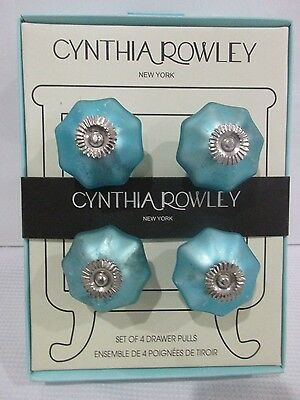 Cynthia Rowley Drawer Pulls Knobs Aqua SET OF 4 New