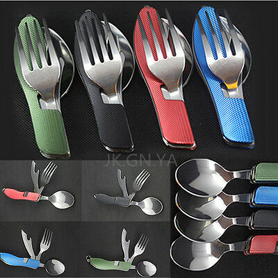 4In1 Outdoor Camping Picnic Stainless Steel Cutlery Folding Fork Spoon Set