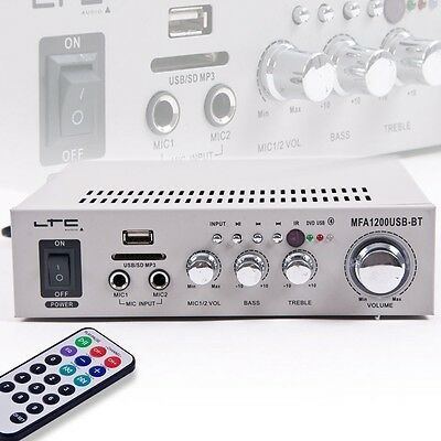 Party room Compact Amplifier Treble Bass Controllers Bluetooth USB SD MP3 silver