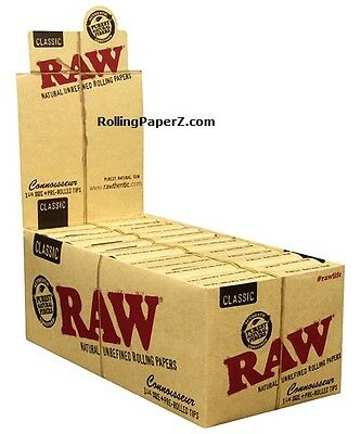 New! RAW CLASSIC CONNOISSEUR ROLLING PAPERS 1 1/4 Size NOW WITH PRE-ROLLED TIPS!