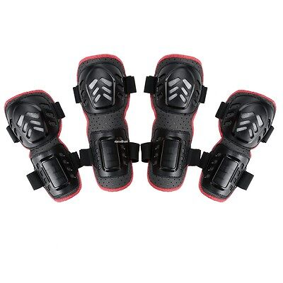 Motorcycle Bike 4PCs Kit Elbow Knee Shin Armor Guard Pads Protective Gear EA
