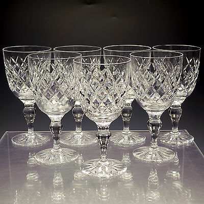 Thomas Webb Crystal Dennis Diamonds  7 Large 10 oz Wine / Glasses Gobletsc.1950