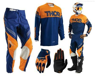 Thor Phase Hyperion MX Combo navy orange Motocross Hose Shirt Handschuhe