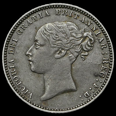 1872 Queen Victoria Young Head Silver Sixpence, Rare