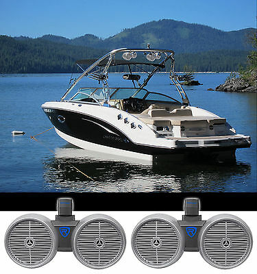 "2) Rockville DWB80S Dual 8"" Silver 1600w Marine Wakeboard Tower Speaker Systems"