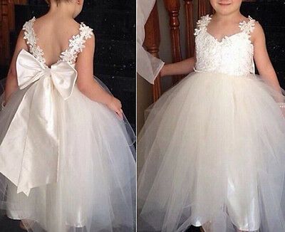 Flower Girl Bow Princess Dress Kid Party Pageant Wedding Bridesmaid Tutu Dresses