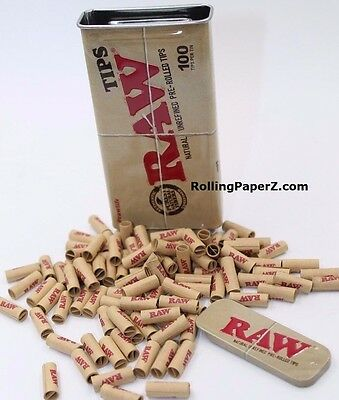 """100 Count RAW Pre-Rolled TIPS in """"RAWSOME"""" KING SIZE Metal Slide Top STORAGE TIN"""