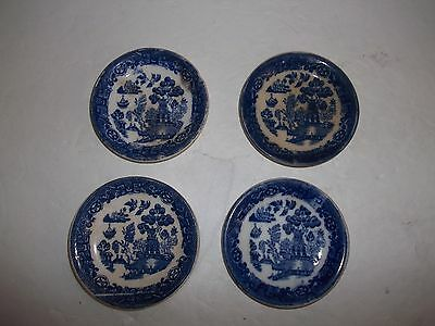 "4 Vintage Antique Blue Willow Butter Pats England 3.25"" Millertons Shabby Chic"