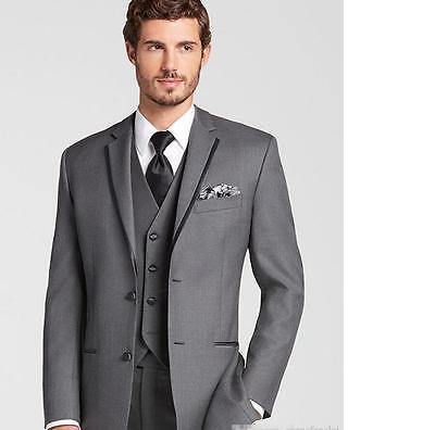 New Custom Made Gray Men Suits three-Piece Business Formal Suits Groomsmen Blaze