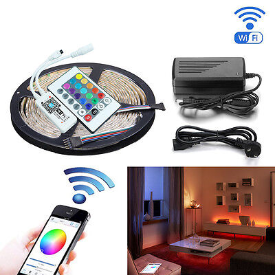 16.4ft  RGBW RGBWW LED Strip Light 5050 + Smart Wifi Controller+12V 5A Adapter