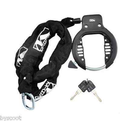 Safety lock bike horseshoe + chain 90cm lasso M-WAVE screw closing 2 clés NEW