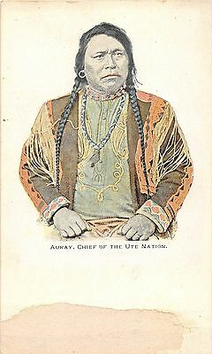 C17/ Native American Indian Postcard c1905 Auray Chief of Ute Nation 11