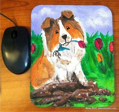 MOUSE PAD SHELTIE SHETLAND SHEEPDOG SABLE LITTLE GARDNER BY  Amy Bolin