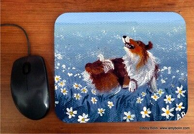 MOUSE PAD SHELTIE SHETLAND SHEEPDOG SABLE HAPPY DANCE BY  Amy Bolin