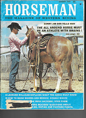 Horseman The Magazine  Of Western Riding January 1969 Equine Data & Stories