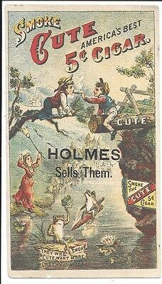 """Trade Card for """"Cute"""" Five Cent Cigars (Images Both Sides) c1880s"""