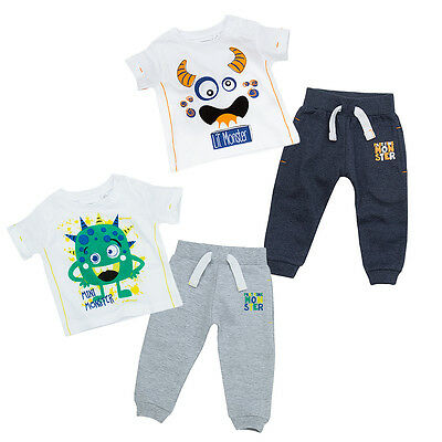 Boys Tracksuit Jogger And T-shirt Set Monster Theme Two Styles 3-6M To 18-24M
