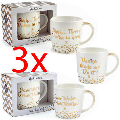 Set Of 3 Vodka Coffee Mug Tea Cup Drinking Kitchen Fine China Quotes Gift Gold
