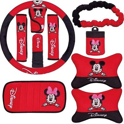ON SALE# NEW Disney Mickey Minnie Mouse Car Accessories 10 PCS Red