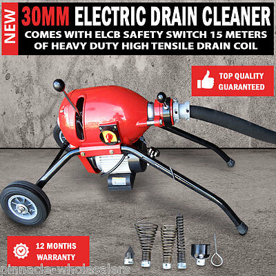 NEW Heavy Duty Electric Drain Cleaner 30mm Coil Plumbing Sewerage Pipe Machine