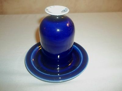 Cobalt Blue Glazed Signed Art Pottery Posy Vase Attached Under Plate Maine