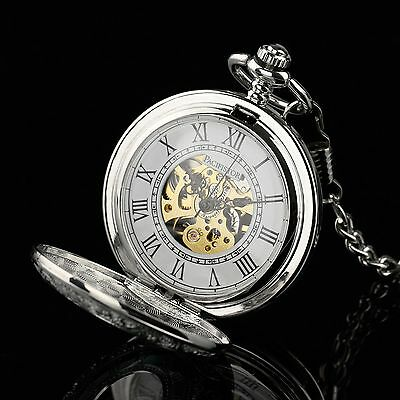 PACIFISTOR Mechanical Pocket Watch Double Half Hunter Steampunk Antique Style US