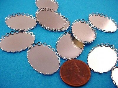 Silver Lace  Oval Edge Bezel Cups 25x18 - 6 Pieces