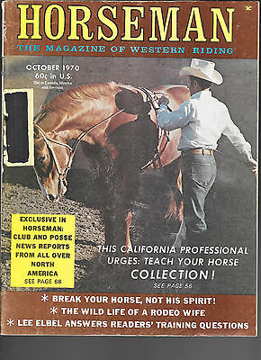Horseman The Magazine  Of Western Riding October 1970 Equine Data & Stories
