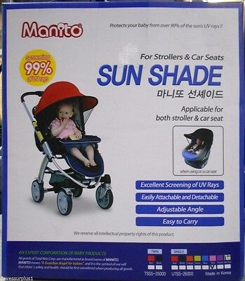 Manito Sun Shade for Strollers and Car Seats Single Red