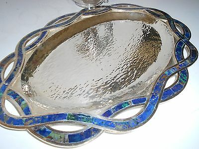Gorgeous One Of A Kind Lapis Emilia Los Castillo Silver Platter Tray Ribbon