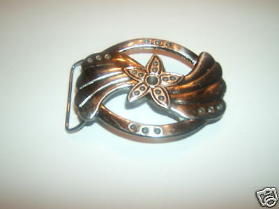 Belt Buckle - Oval Flower Star - New - Silver Tone