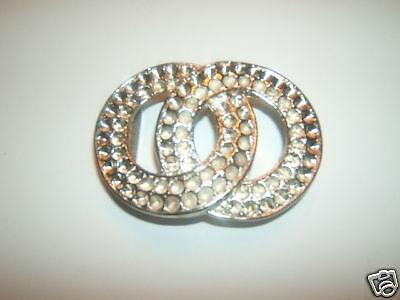Belt Buckle - 2 Lock Circles - New - Silver Tone