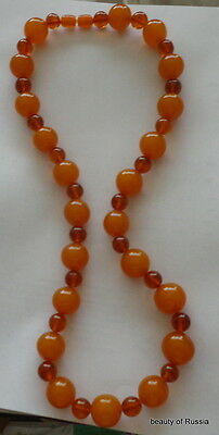 Antique Natural  butterscotch egg yolk Baltic Amber Round  Beads Necklace   85gr