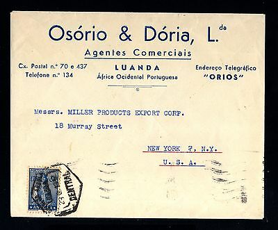 15112-ANGOLA-OLD COMERCIAL COVER LUANDA to USA.1947.WWII.Portugal colonies
