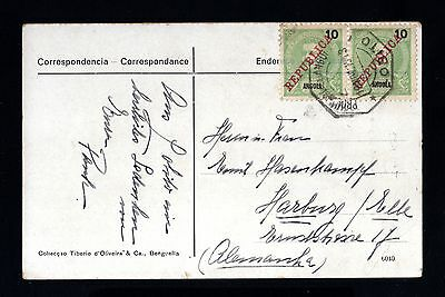 15091-ANGOLA-OLD POSTCARD LOBITO to GERMANY.1913.WWI.Portugal colonies.REPUBLICA