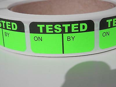 TESTED  ON/BY fluorescent green Quality Assurance .75x1.5 Sticker Label 250/rl